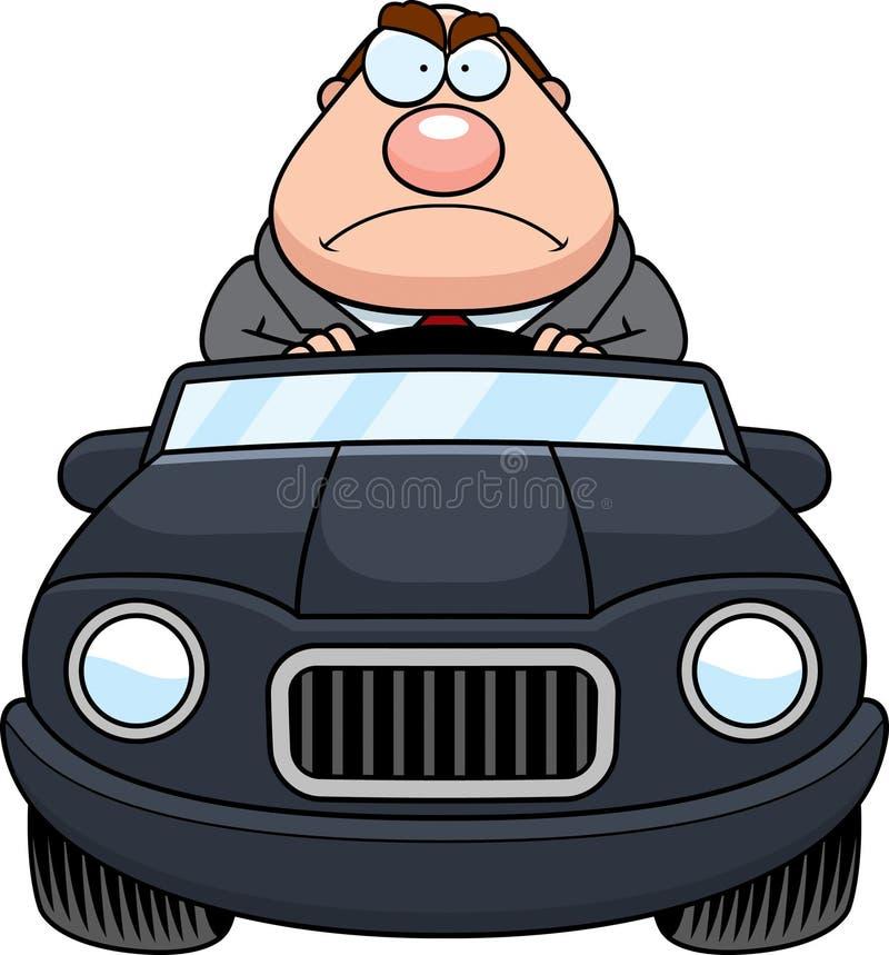 Chefe Driving Angry dos desenhos animados ilustração royalty free
