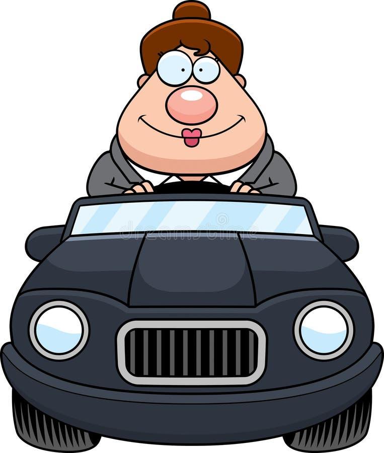 Chefe Driving Happy dos desenhos animados ilustração stock