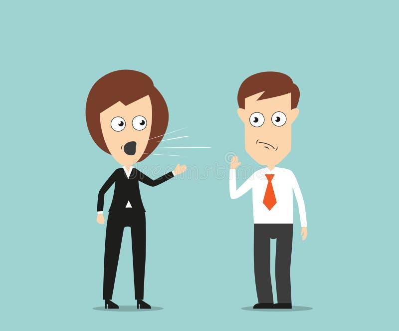 Chefe fêmea que grita no empregado ilustração do vetor
