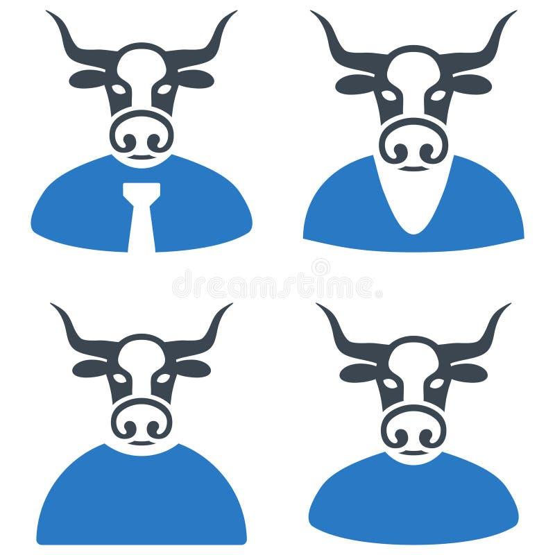 Chefe Flat Icons de Bull ilustração stock