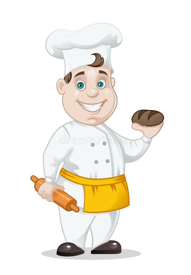 Chefe-fogão com pão e rolamento-pino ilustração royalty free