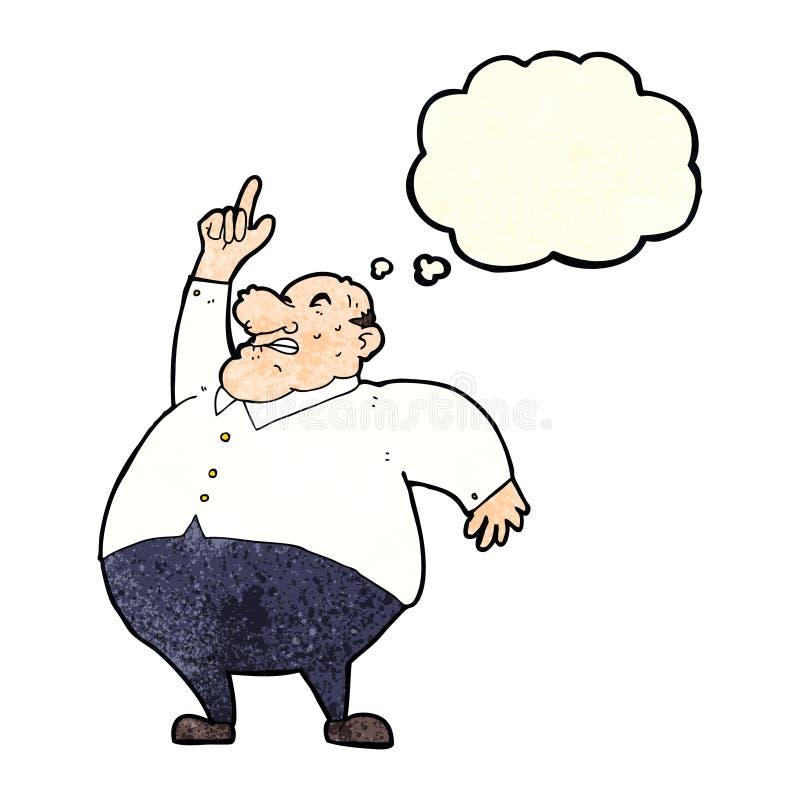 chefe gordo grande dos desenhos animados com bolha do pensamento ilustração royalty free