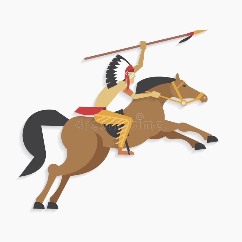 Chefe indiano do nativo americano com o cavalo de equitação da lança ilustração royalty free