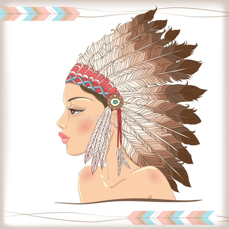 Chefe indiano do nativo americano do vetor ilustração do vetor