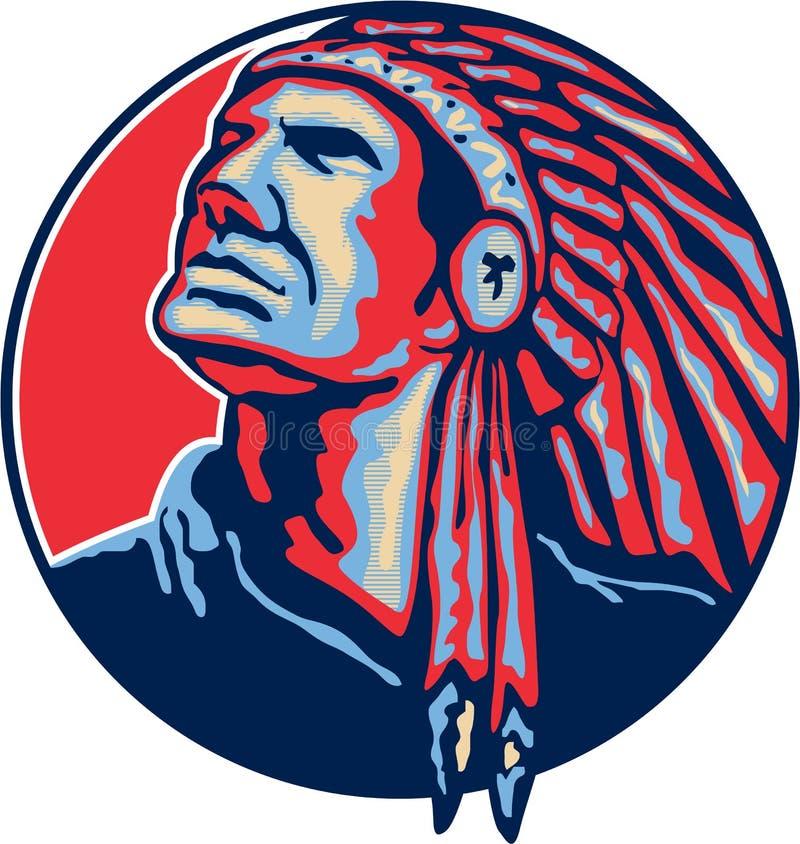 Chefe indiano do nativo americano retro ilustração stock