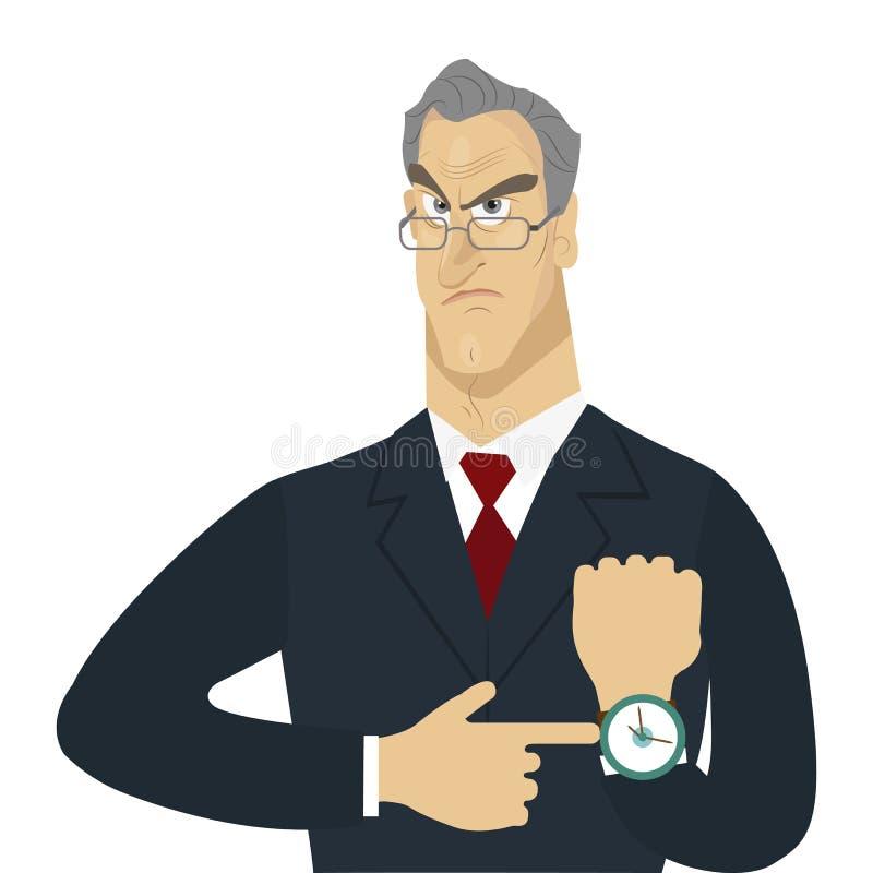 Chefe irritado isolado ilustração do vetor