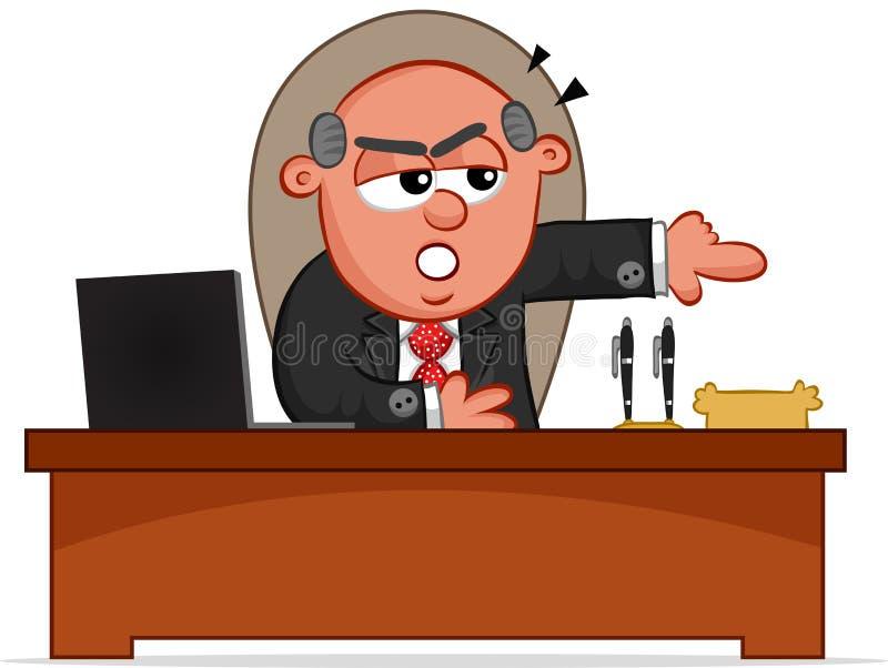 Chefe irritado Man Pointing Door ilustração stock