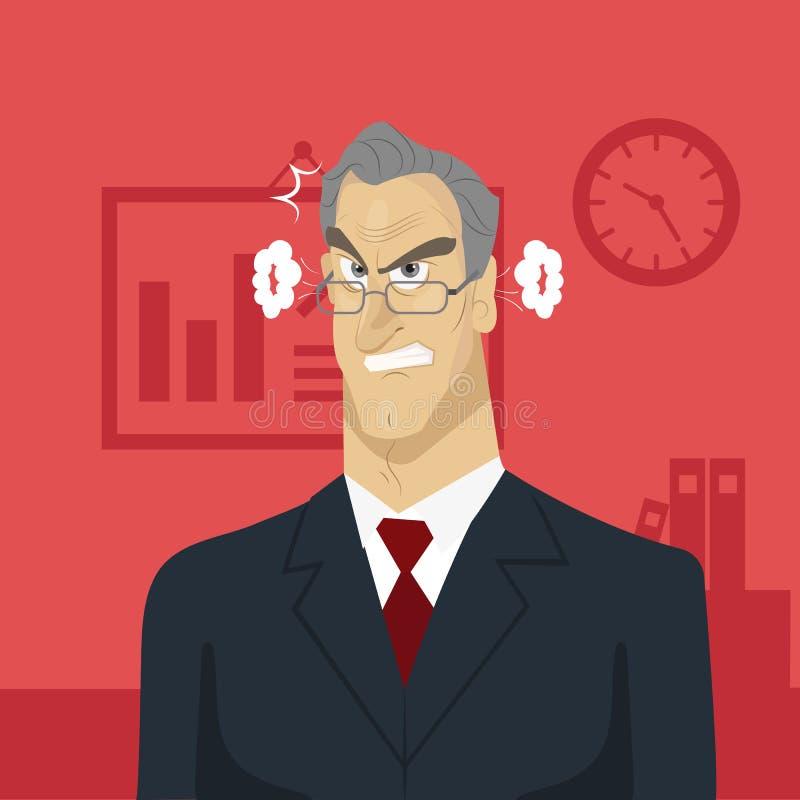 Chefe irritado no escritório ilustração royalty free