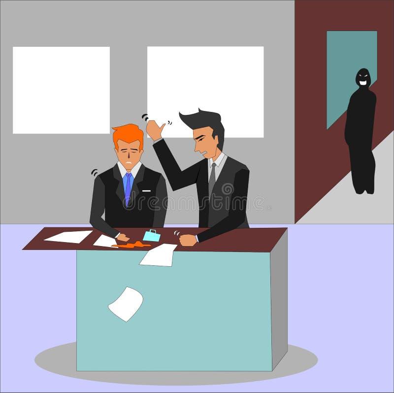 Chefe irritado que grita em seu empregado e que bate em sua mesa ilustração do vetor