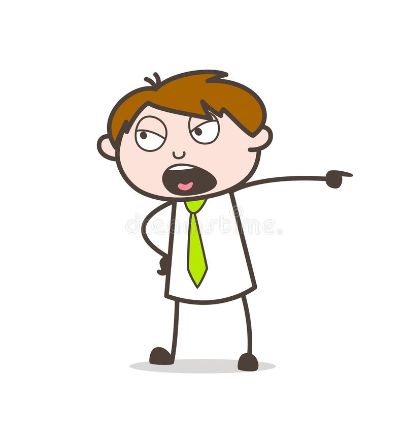 Chefe irritado Shouting no gráfico do conceito do vetor dos trabalhadores ilustração stock