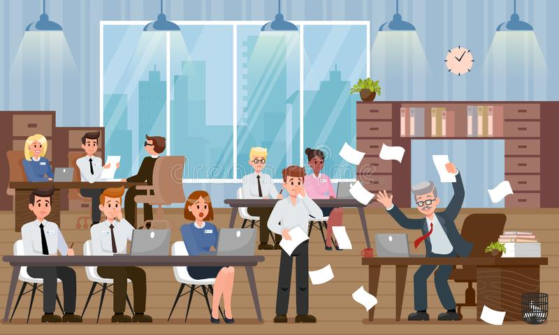 Chefe Scolds Employee Ilustração lisa do vetor ilustração do vetor