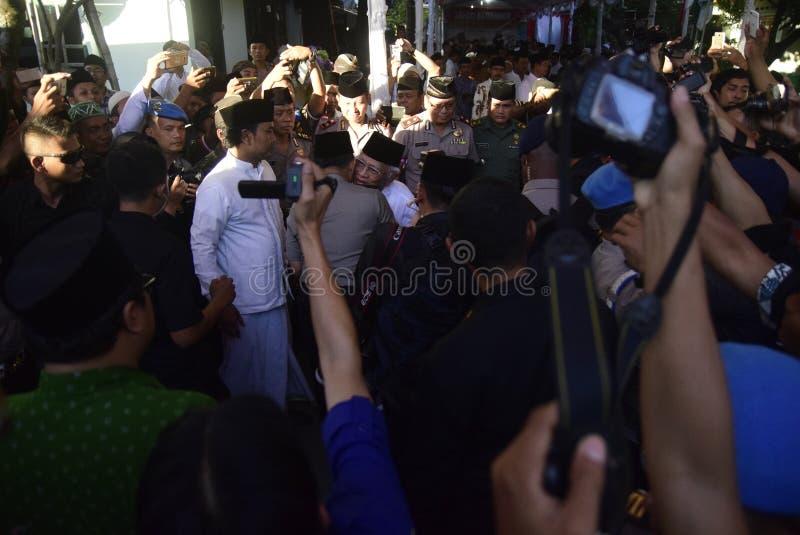 Chefen av polisen Tito Karnavian besökte Pondoken Pesantren Raudlatut Thalibin Rembang royaltyfria bilder