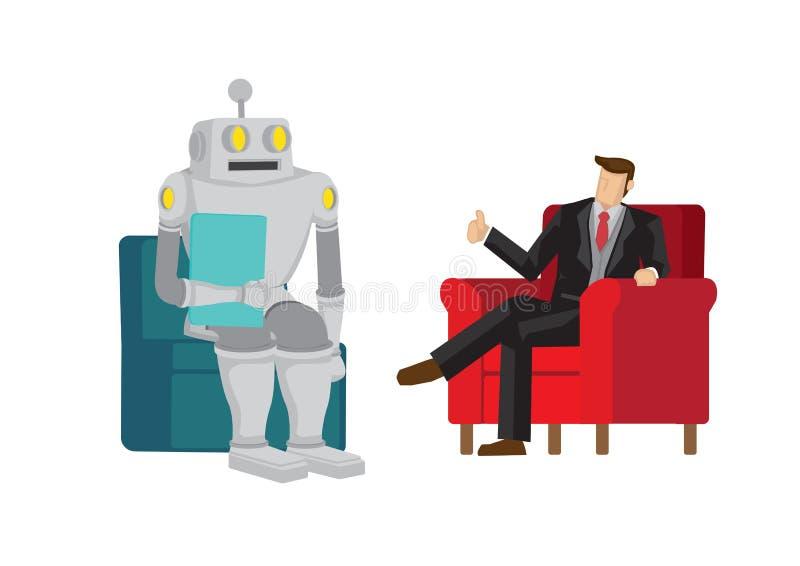 Chefen berömmer robot för att ha gjort ett bra jobb Avger artificiell intelligens och automatisering som tas över i framtiden Iso vektor illustrationer