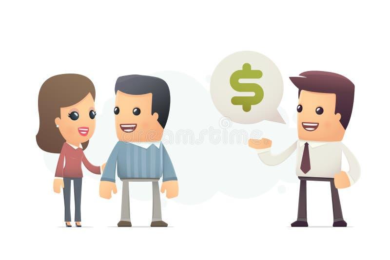 Chefen erbjuder kunder ett bättre avtal royaltyfri illustrationer