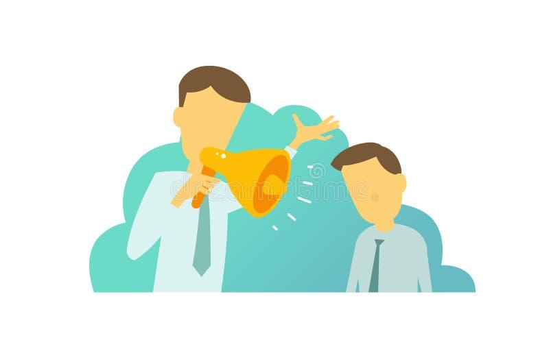 Chefen med hornet ropade att skrika på hans underordnad Manbrådskorna Lagarbete i kontorslägena vektor illustrationer
