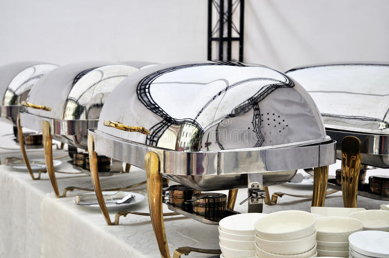 Cheffing Dishes for buffet. Ready table in a outdoor luxury buffet dinner stock photos