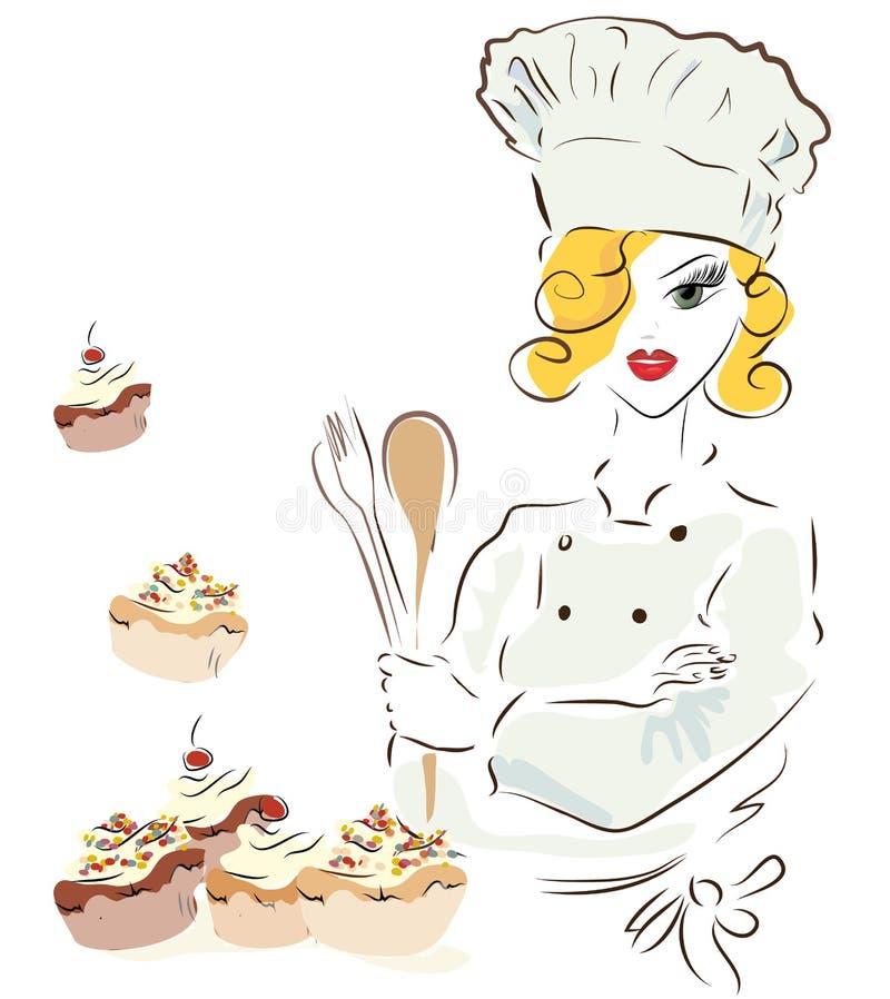 Cheffrau mit einem Hut stock abbildung