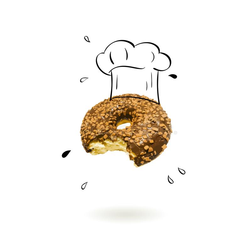 Chefhut mit Donutkonzept vektor abbildung