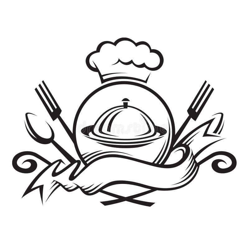 Chefhut mit Löffel, Gabel und Teller vektor abbildung