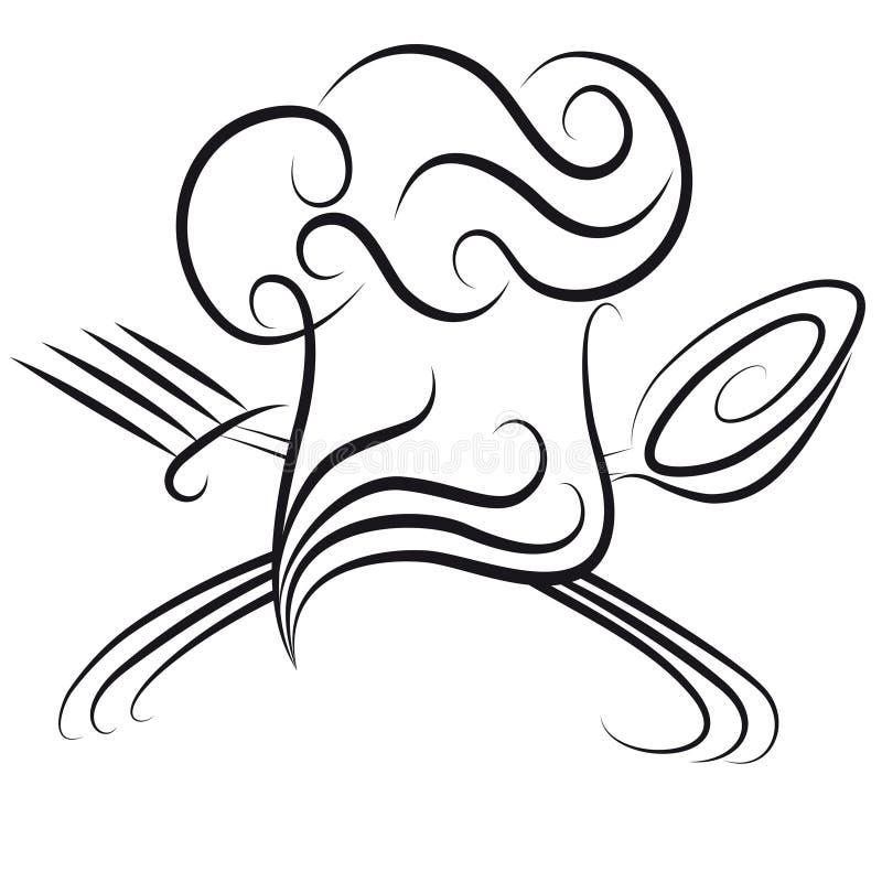 Chefhut mit Löffel und Gabel vektor abbildung
