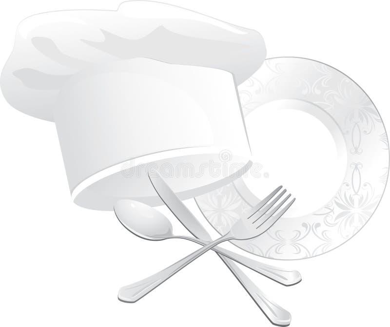 Chefhut, Platte mit Löffel, Gabel und Messer lizenzfreie abbildung