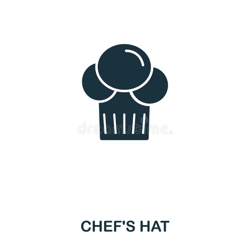 Chefhutikone Bewegliche apps, Drucken und mehr Verwendung Einfaches Element singen Einfarbige Chef-Hat-Ikonenillustration stock abbildung