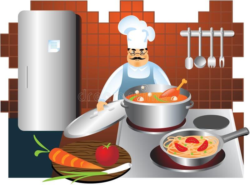 Chefköche in einer Küche lizenzfreie abbildung