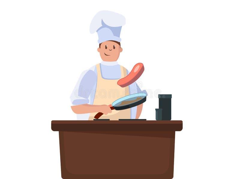 Chefkochsteak auf Küche mit Bratpfanne lokalisierter Illustration Vektor stock abbildung