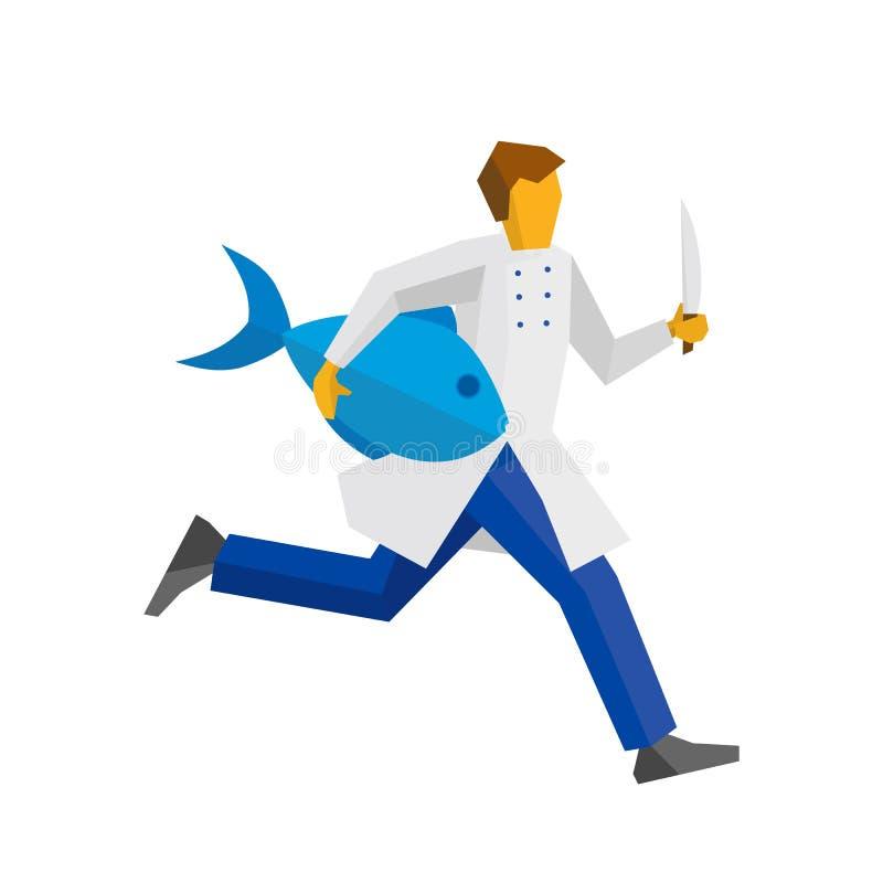 Chefläufe mit Messer und großen Fischen vektor abbildung