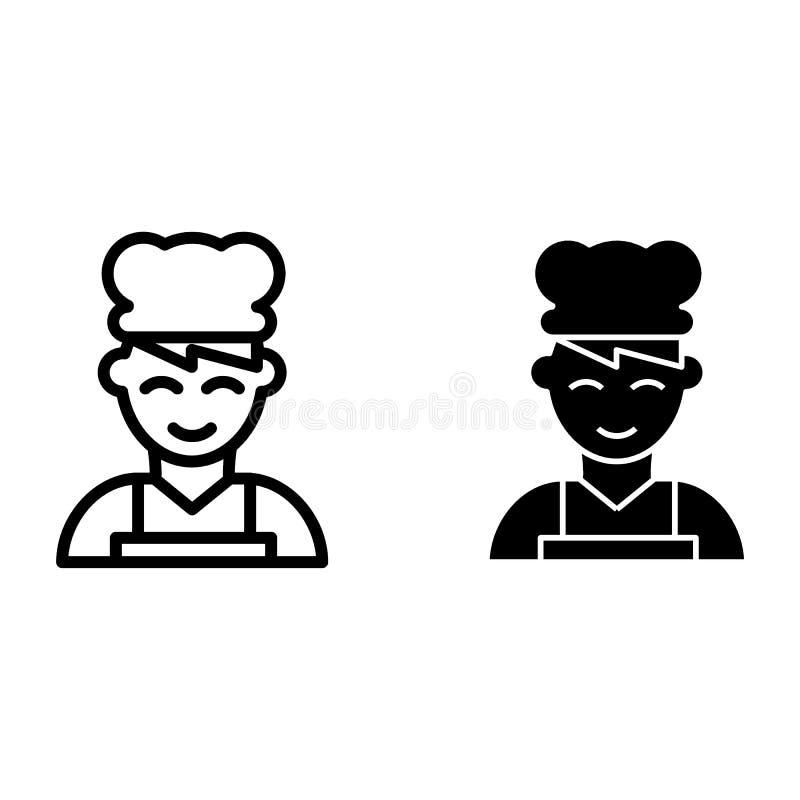 Cheflinie und Glyphikone Kochen Sie die Vektorillustration, die auf Weiß lokalisiert wird Chef, wenn der Hutentwurfs-Artentwurf g lizenzfreie abbildung