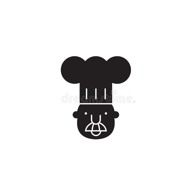 Chefmaskottchenschwarzvektor-Konzeptikone Flache Illustration des Chefmaskottchens, Zeichen stock abbildung