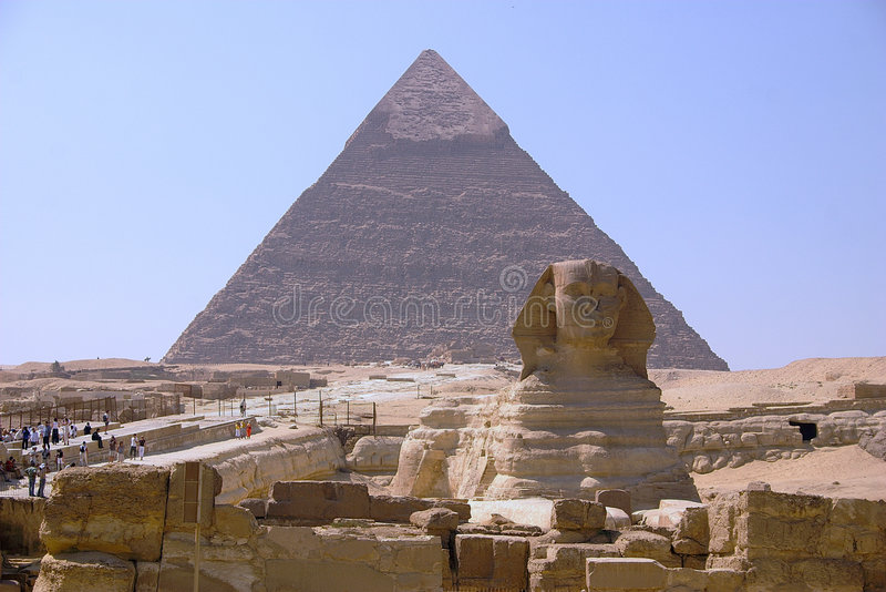 Chefren. Pyramid of Chefren and sphinks- Giza stock photography