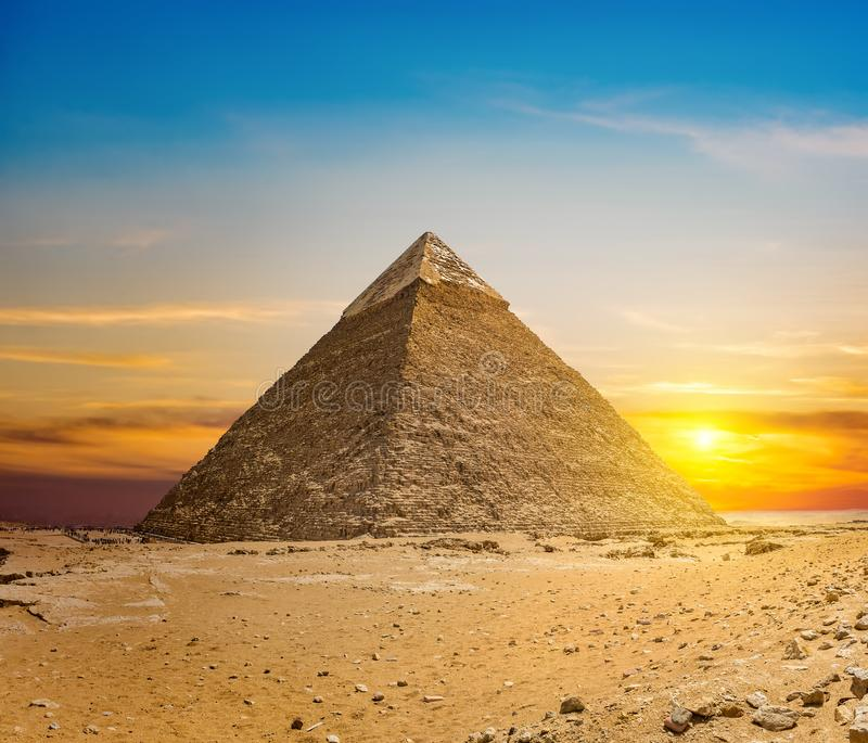 Chefren pyramid at sunset. In the desert of Giza, Egypt stock image