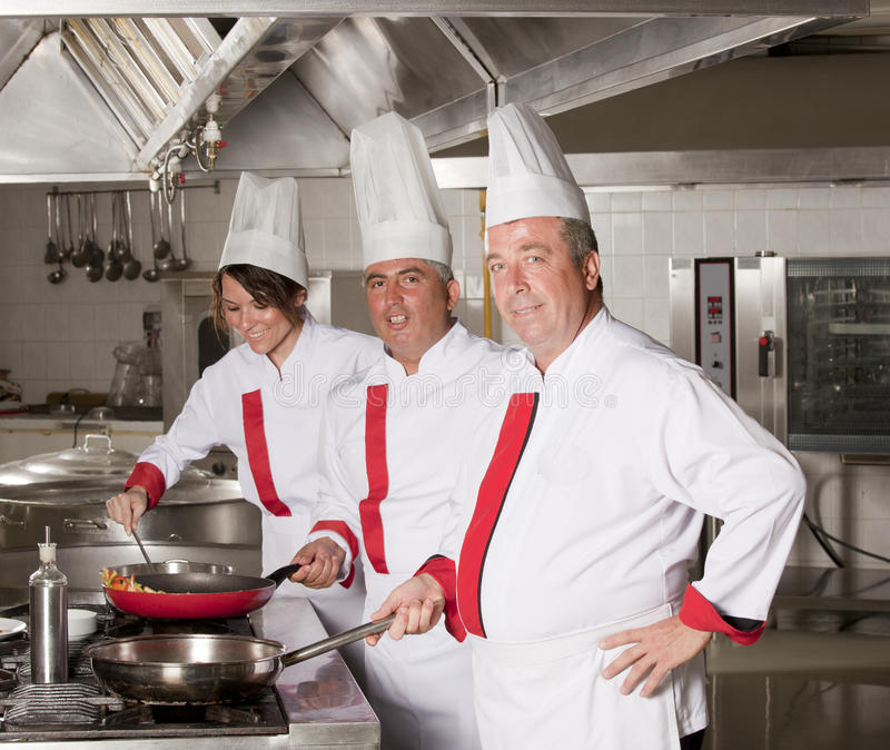 Chefs. Group of young beautiful professional chefs portrait royalty free stock images