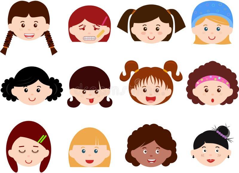 Chefs des filles, femmes, gosses (femelle réglée) différents illustration de vecteur