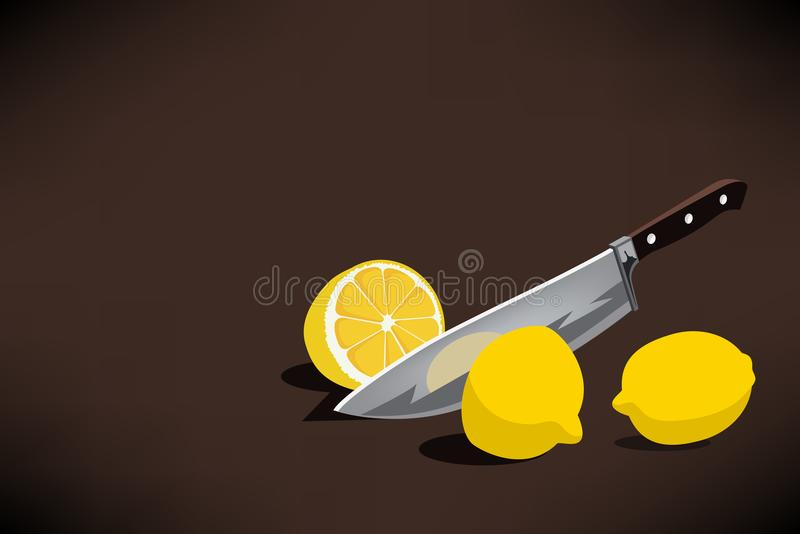Chefs Knife Slice A Lemon For Making A Lemonade Conceptual Illustration. Vector Graphic. Chefs Knife Slice A Lemon For Making A Lemonade Conceptual Illustration stock illustration