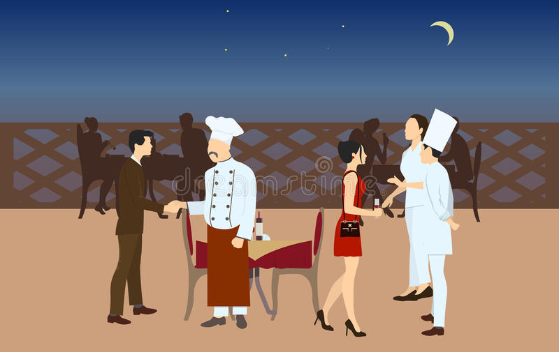Chefs meet with visitors. vector illustration