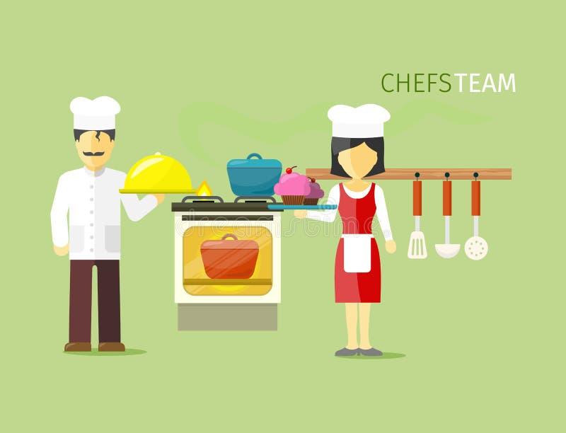Chefs Team People Group Flat Style illustration de vecteur