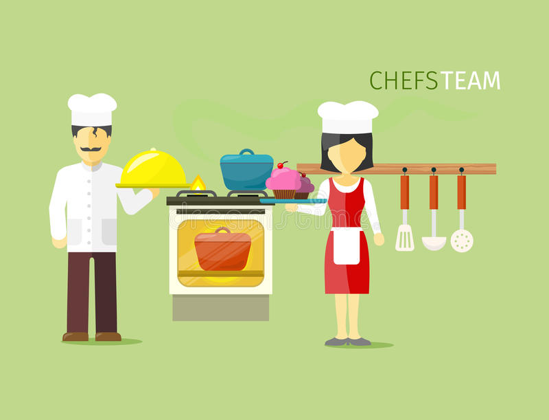 Chefs Team People Group Flat Style vektor abbildung