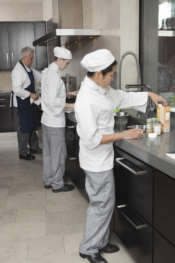 Chefs Working Together In Commercial Kitchen. Three chefs working together in busy commercial kitchen royalty free stock image