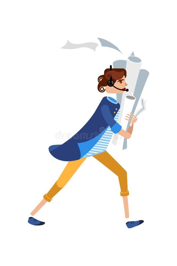 Cheftecken i ett körande samtal för blått omslag på telefonen Kvinnligt tecken i en randig skjorta och gula flåsanden med legitim stock illustrationer