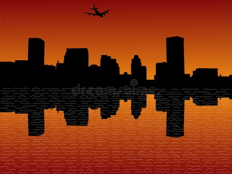 Chegada plana em Baltimore ilustração stock
