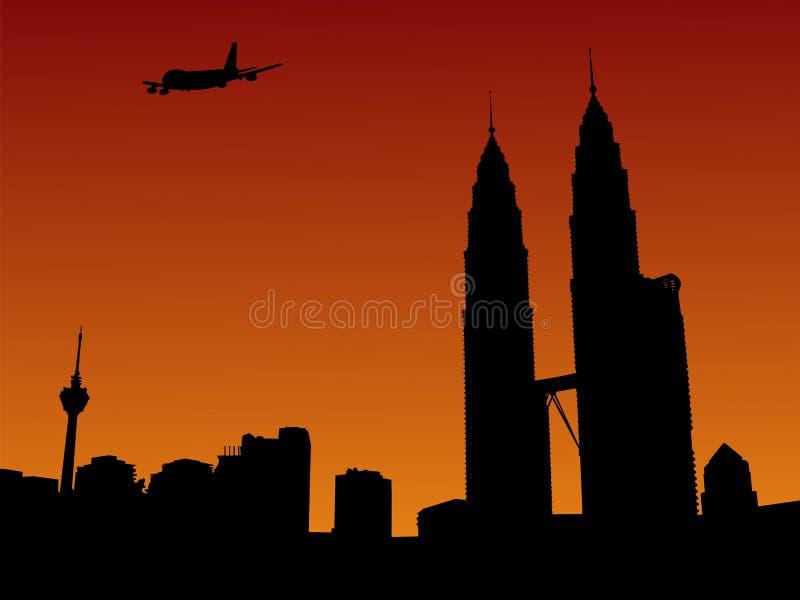 Chegada plana em Kuala Lumpur ilustração royalty free