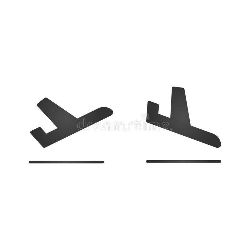 Chegadas e ícones planos da partida O preto simples decolam e os sinais do avião da aterrissagem Ilustração do vetor ilustração stock