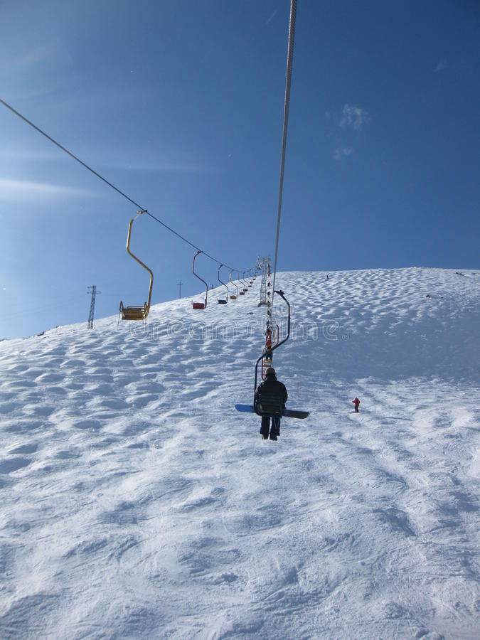 cheget电梯山区度假村rus滑雪 免版税库存照片