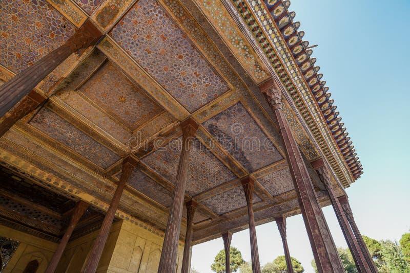 Chehel Sotoun paviljong i Isfahan, Iran royaltyfri fotografi