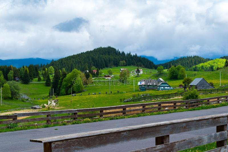 Cheile Gradistei, Fundata, Rumänien - 25. Mai 2019: Schöne Landschaftslandschaft von Cheile Gradistei, Fundata, Brasov, Rumänien lizenzfreies stockbild