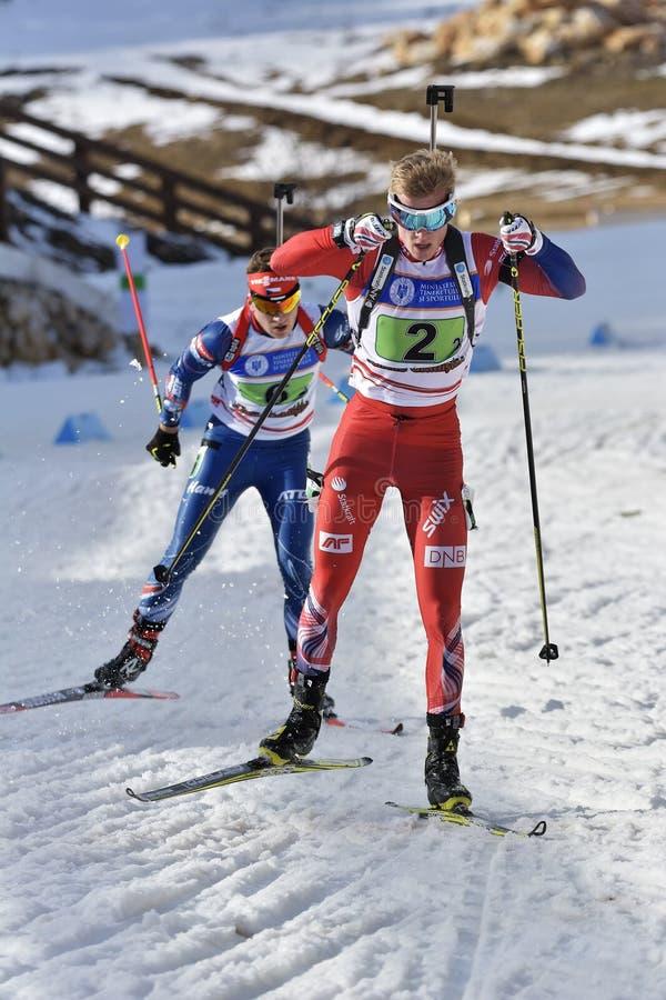 Cheile Gradistei, Roamania - January 30: Unknown competitor in IBU Youth&Junior World Championships Biathlon royalty free stock photo