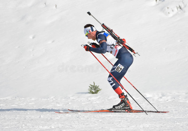 Cheile Gradistei, Roamania - January 24: Unknown competitor in IBU Youth&Junior World Championships Biathlon 24th of January 2016. To 02 Feb 2016, in Cheile royalty free stock photography