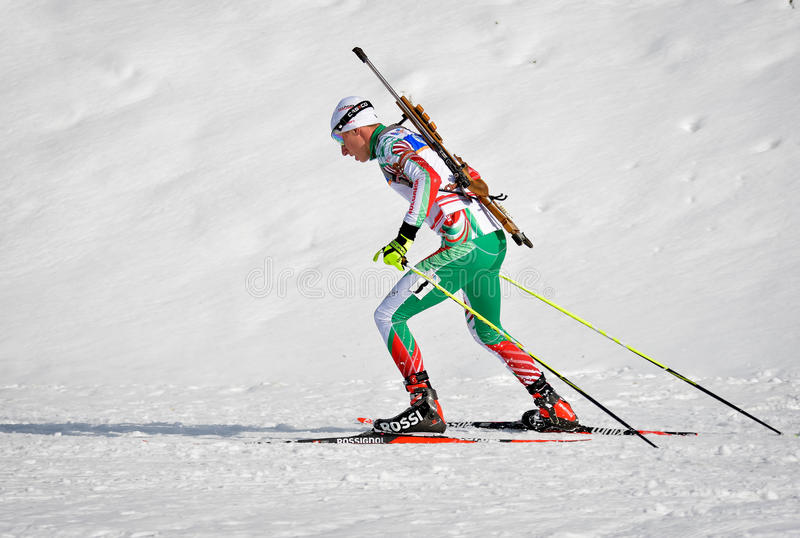 Cheile Gradistei, Roamania - January 24: Unknown competitor in IBU Youth&Junior World Championships Biathlon 24th of January 2016. To 02 Feb 2016, in Cheile royalty free stock images